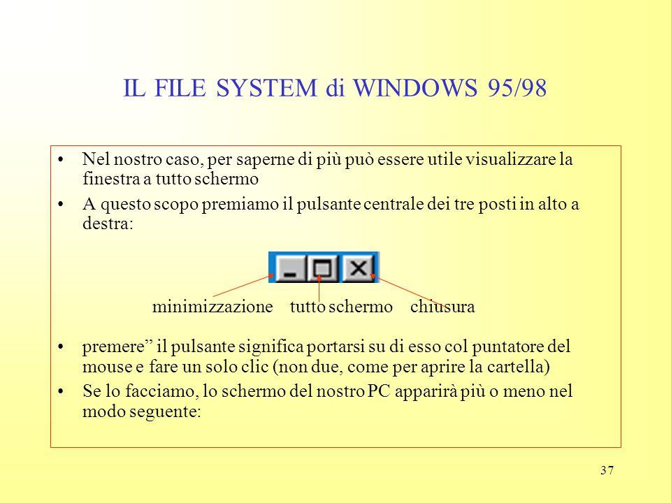 36 IL FILE SYSTEM di WINDOWS 95/98 La finestra di ogni cartella contiene elementi standard che rendono immediato visualizzare le informazioni desidera