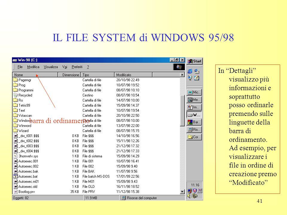 40 IL FILE SYSTEM di WINDOWS 95/98 In questo modo visualizzo molti più oggetti, ma non tutti (come segnalato dalla barra di scorrimento laterale). Pos