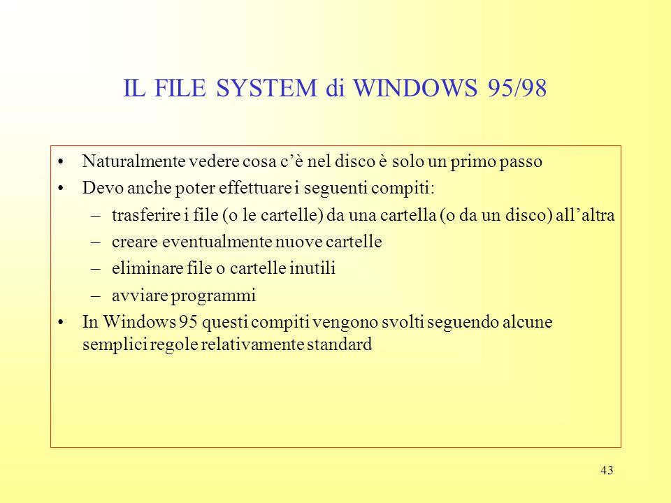42 IL FILE SYSTEM di WINDOWS 95/98 Cartelle e file vengono ora visualizzate in ordine cronologico