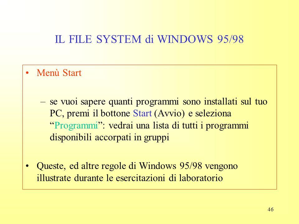 45 IL FILE SYSTEM di WINDOWS 95/98 Doppio clic: –per avviare un programma, fai doppio clic o sull'icona del programma, o sull'icona di un documento cr