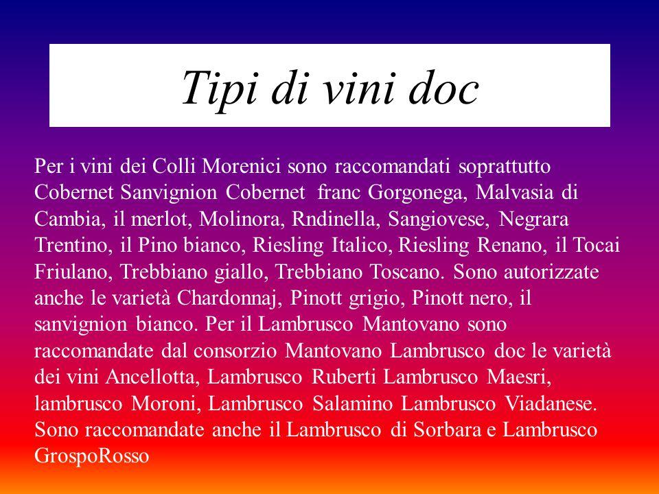 Tipi di vini doc Per i vini dei Colli Morenici sono raccomandati soprattutto Cobernet Sanvignion Cobernet franc Gorgonega, Malvasia di Cambia, il merlot, Molinora, Rndinella, Sangiovese, Negrara Trentino, il Pino bianco, Riesling Italico, Riesling Renano, il Tocai Friulano, Trebbiano giallo, Trebbiano Toscano.