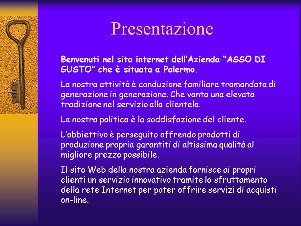 Presentazione Benvenuti nel sito internet dell'Azienda ASSO DI GUSTO che è situata a Palermo.