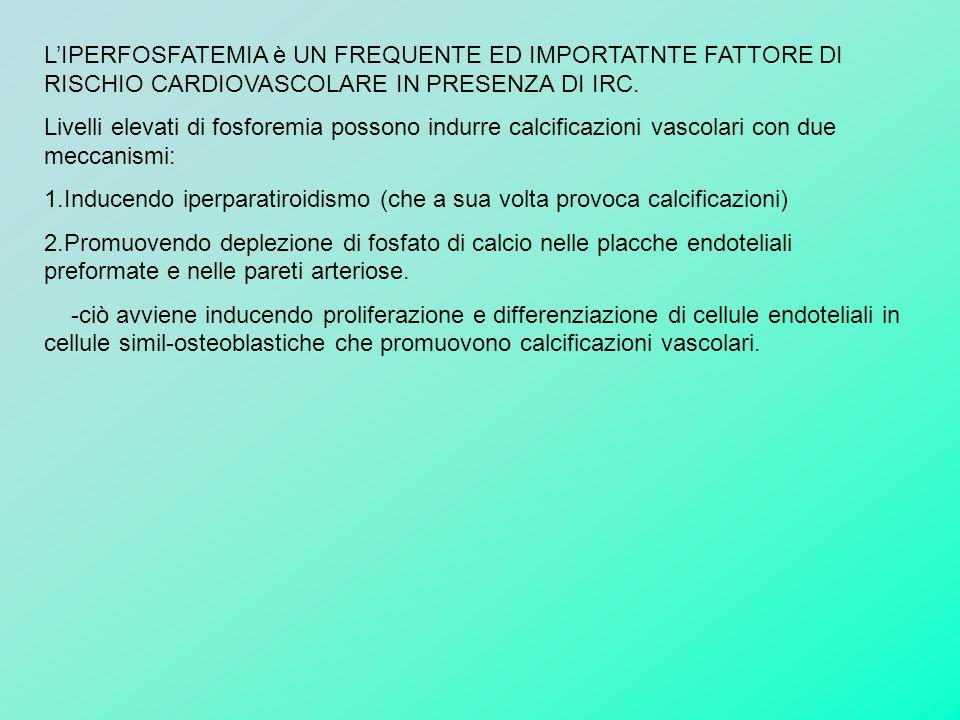 L'IPERFOSFATEMIA è UN FREQUENTE ED IMPORTATNTE FATTORE DI RISCHIO CARDIOVASCOLARE IN PRESENZA DI IRC. Livelli elevati di fosforemia possono indurre ca