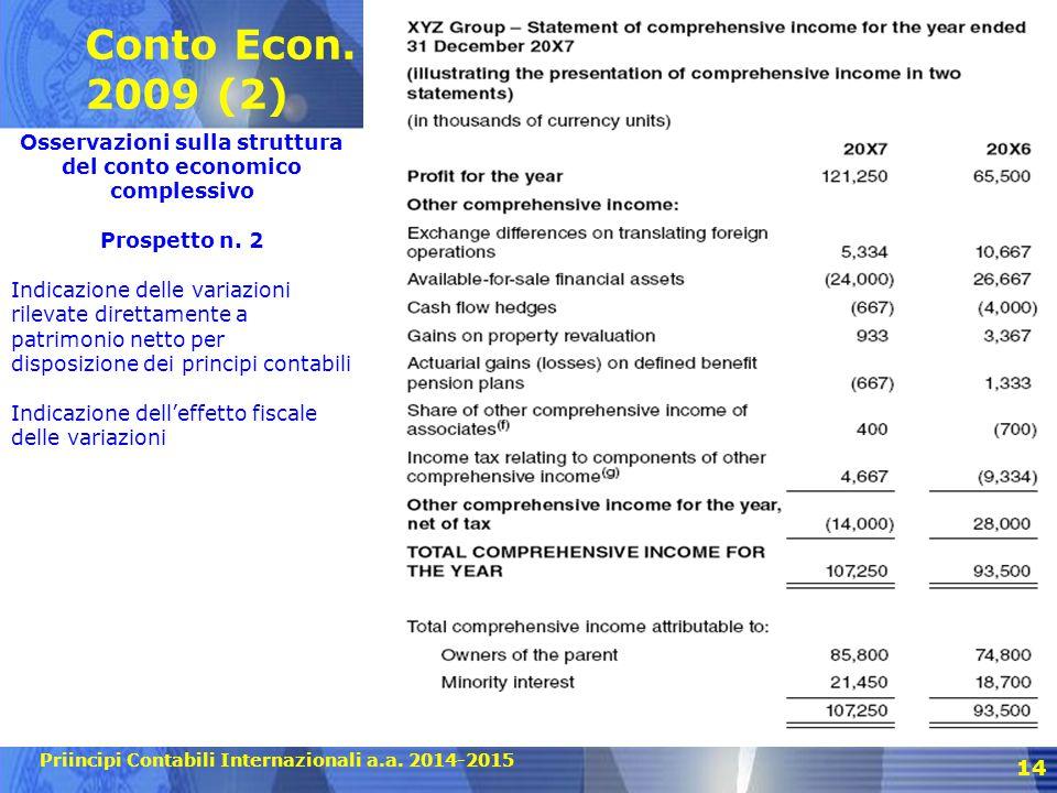 Priincipi Contabili Internazionali a.a. 2014-2015 Conto Econ. 2009 (2) 14 Osservazioni sulla struttura del conto economico complessivo Prospetto n. 2