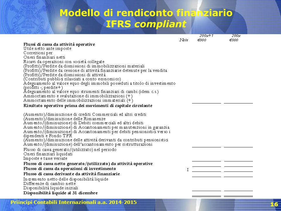 Priincipi Contabili Internazionali a.a. 2014-2015 16 Modello di rendiconto finanziario IFRS compliant