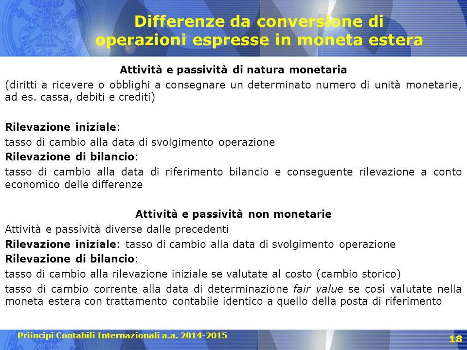 Priincipi Contabili Internazionali a.a. 2014-2015 18 Differenze da conversione di operazioni espresse in moneta estera Attività e passività di natura