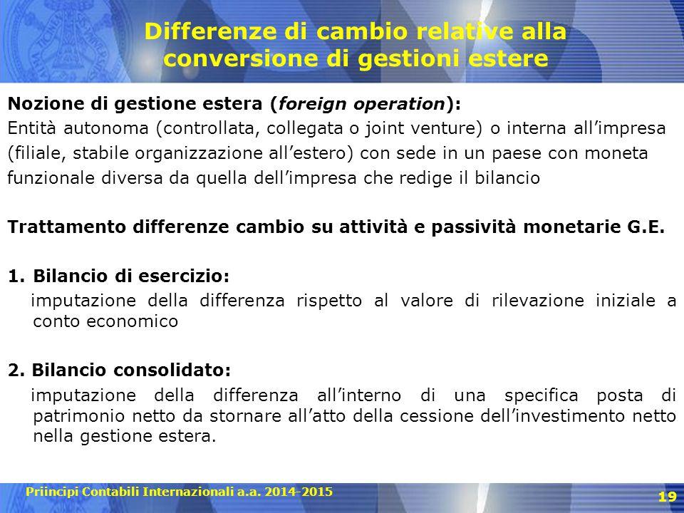 Priincipi Contabili Internazionali a.a. 2014-2015 19 Differenze di cambio relative alla conversione di gestioni estere Nozione di gestione estera (for