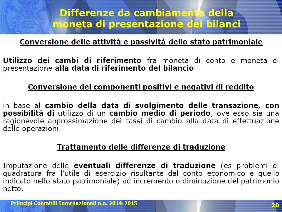 Priincipi Contabili Internazionali a.a. 2014-2015 20 Differenze da cambiamento della moneta di presentazione dei bilanci Conversione delle attività e