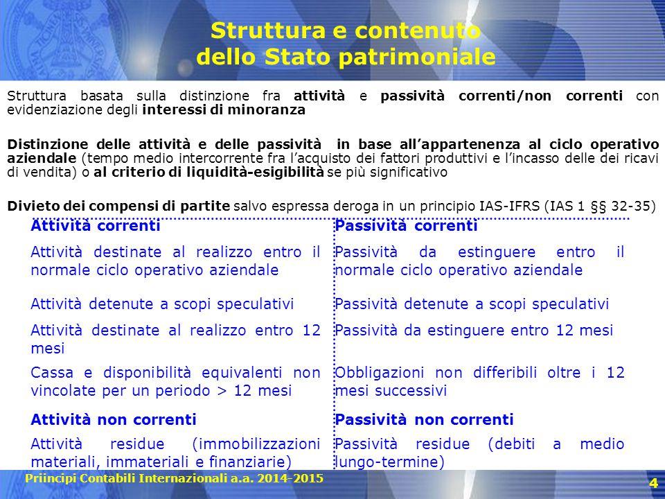 Priincipi Contabili Internazionali a.a. 2014-2015 4 Struttura e contenuto dello Stato patrimoniale Struttura basata sulla distinzione fra attività e p