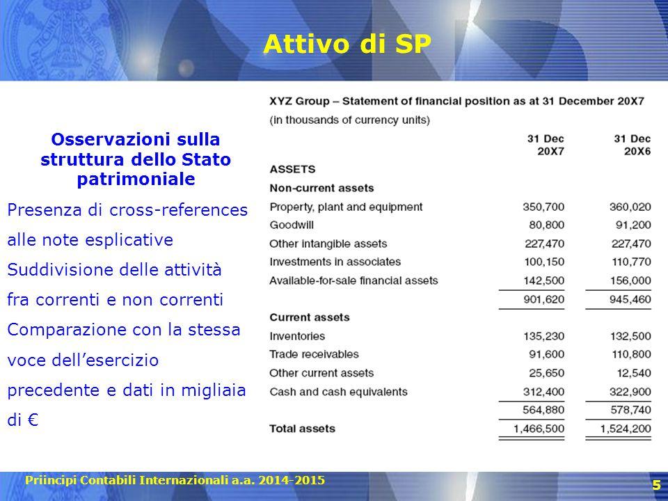 Priincipi Contabili Internazionali a.a. 2014-2015 Attivo di SP 5 Osservazioni sulla struttura dello Stato patrimoniale Presenza di cross-references al