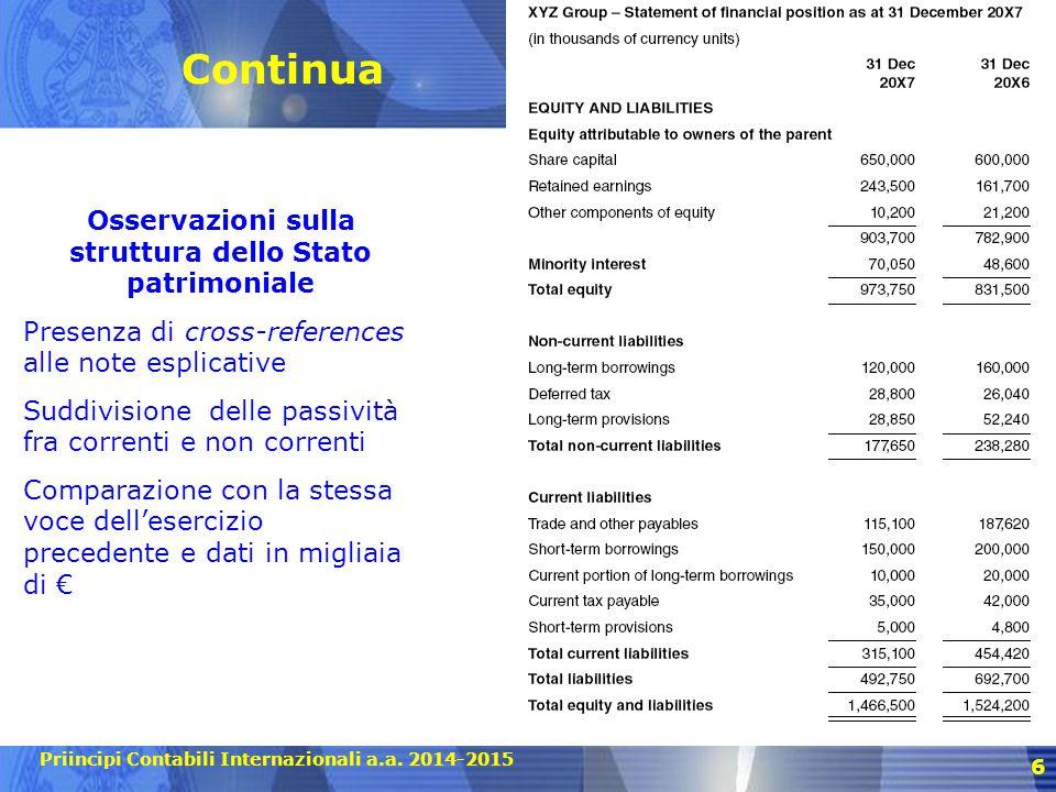 Priincipi Contabili Internazionali a.a. 2014-2015 Continua 6 Osservazioni sulla struttura dello Stato patrimoniale Presenza di cross-references alle n
