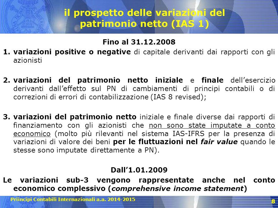 Priincipi Contabili Internazionali a.a. 2014-2015 8 il prospetto delle variazioni del patrimonio netto (IAS 1) Fino al 31.12.2008 1.variazioni positiv