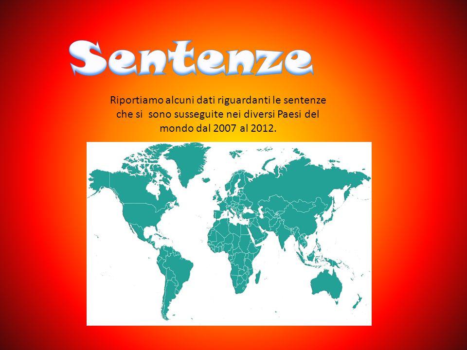 Riportiamo alcuni dati riguardanti le sentenze che si sono susseguite nei diversi Paesi del mondo dal 2007 al 2012.