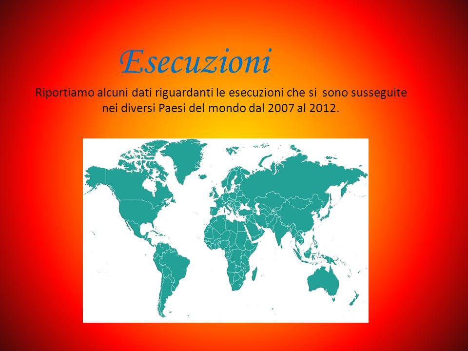 Esecuzioni Riportiamo alcuni dati riguardanti le esecuzioni che si sono susseguite nei diversi Paesi del mondo dal 2007 al 2012.