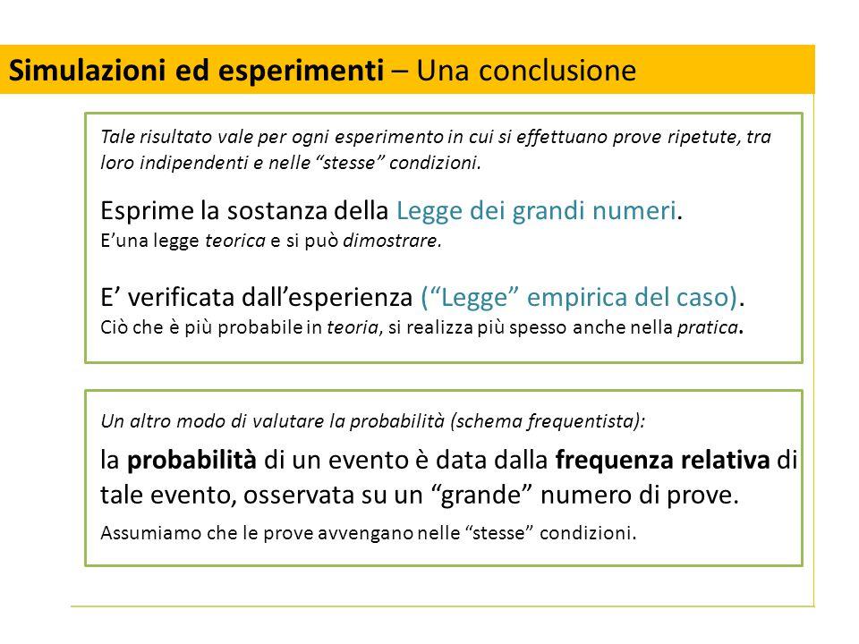 Un altro modo di valutare la probabilità (schema frequentista): la probabilità di un evento è data dalla frequenza relativa di tale evento, osservata