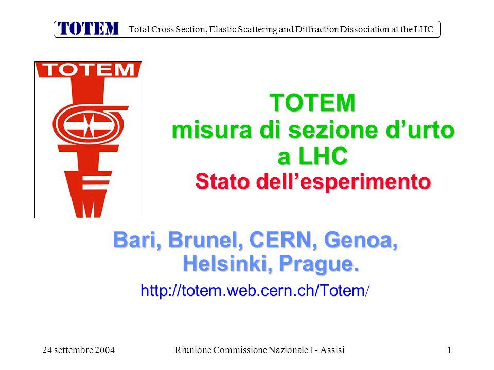 Total Cross Section, Elastic Scattering and Diffraction Dissociation at the LHC 24 settembre 2004Riunione Commissione Nazionale I - Assisi12 Apparato sperimentale per i test 2003/04 Il setup riproduce i cinque piani di CSC dell esperimento.