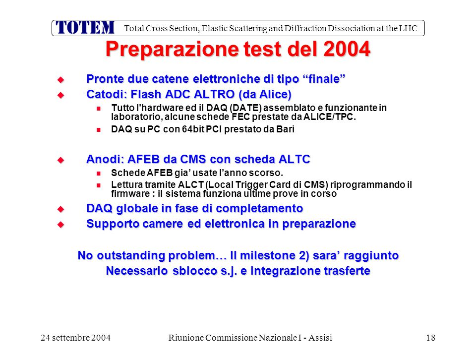 Total Cross Section, Elastic Scattering and Diffraction Dissociation at the LHC 24 settembre 2004Riunione Commissione Nazionale I - Assisi18 Preparazione test del 2004  Pronte due catene elettroniche di tipo finale  Catodi: Flash ADC ALTRO (da Alice) Tutto l'hardware ed il DAQ (DATE) assemblato e funzionante in laboratorio, alcune schede FEC prestate da ALICE/TPC.
