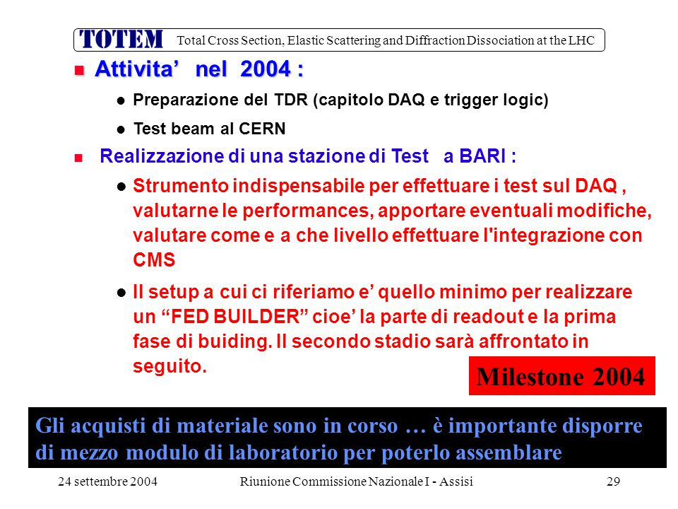 Total Cross Section, Elastic Scattering and Diffraction Dissociation at the LHC 24 settembre 2004Riunione Commissione Nazionale I - Assisi29 Attivita'