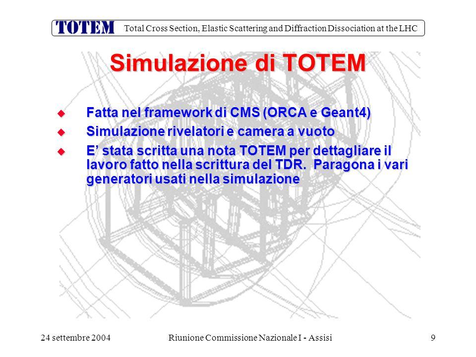 Total Cross Section, Elastic Scattering and Diffraction Dissociation at the LHC 24 settembre 2004Riunione Commissione Nazionale I - Assisi40 Totem Bari  Richieste per il 2005: M.E./M.I.