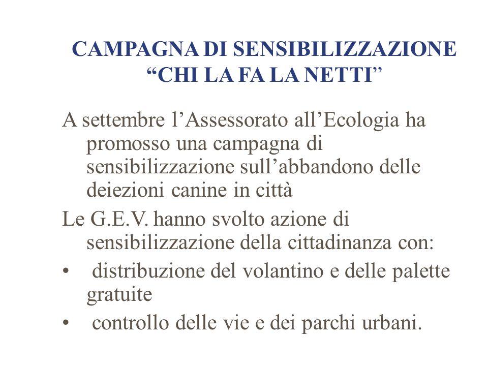 """CAMPAGNA DI SENSIBILIZZAZIONE """"CHI LA FA LA NETTI"""" A settembre l'Assessorato all'Ecologia ha promosso una campagna di sensibilizzazione sull'abbandono"""