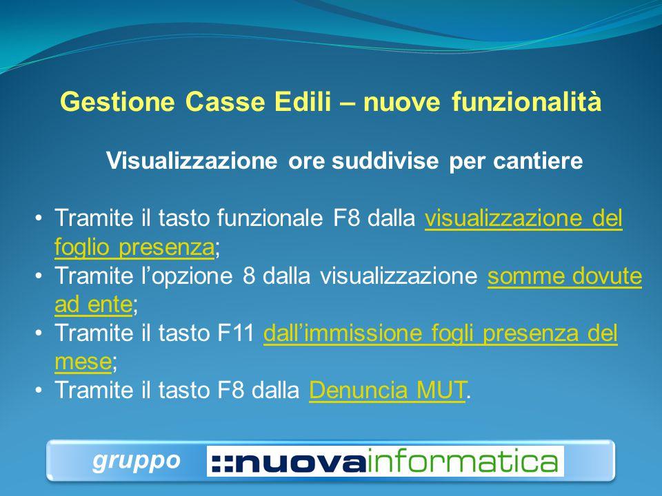 Gestione Casse Edili – nuove funzionalità Visualizzazione ore suddivise per cantiere Tramite il tasto funzionale F8 dalla visualizzazione del foglio p