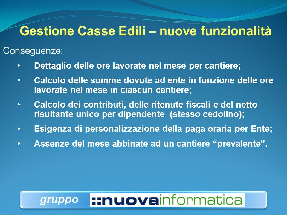 Gestione Casse Edili – nuove funzionalità Conseguenze: Dettaglio delle ore lavorate nel mese per cantiere; Calcolo delle somme dovute ad ente in funzi