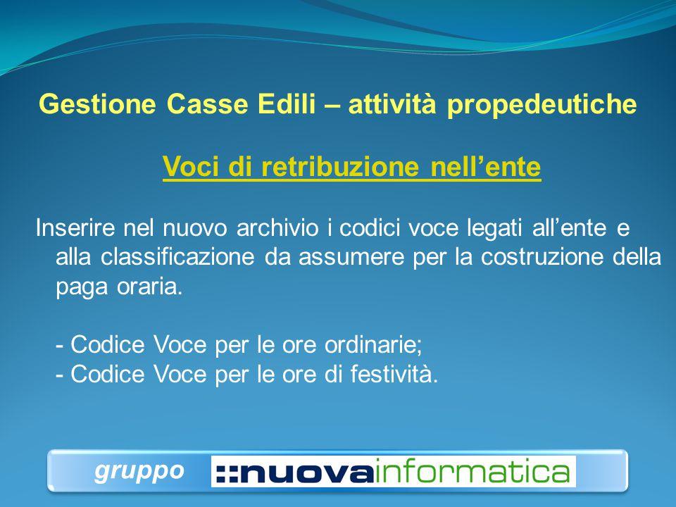 Gestione Casse Edili – attività propedeutiche Voci di retribuzione nell'ente Inserire nel nuovo archivio i codici voce legati all'ente e alla classifi