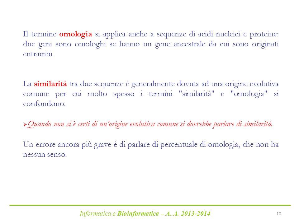 Informatica e Bioinformatica – A. A. 2013-2014 10 Il termine omologia si applica anche a sequenze di acidi nucleici e proteine: due geni sono omologhi
