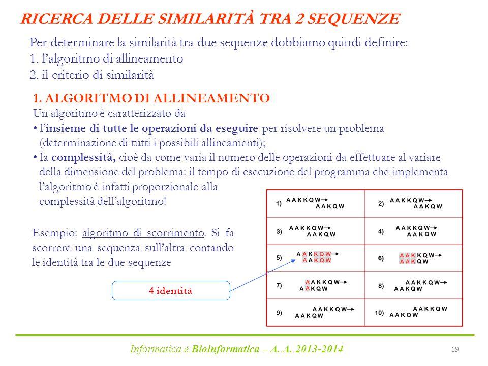 Informatica e Bioinformatica – A. A. 2013-2014 19 Per determinare la similarità tra due sequenze dobbiamo quindi definire: 1. l'algoritmo di allineame