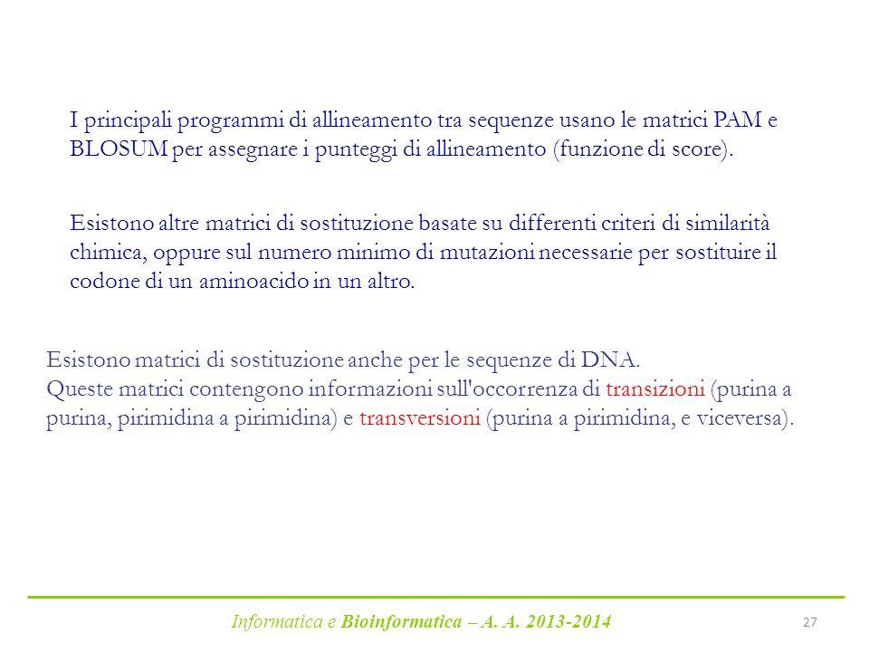 Informatica e Bioinformatica – A. A. 2013-2014 27 Esistono altre matrici di sostituzione basate su differenti criteri di similarità chimica, oppure su
