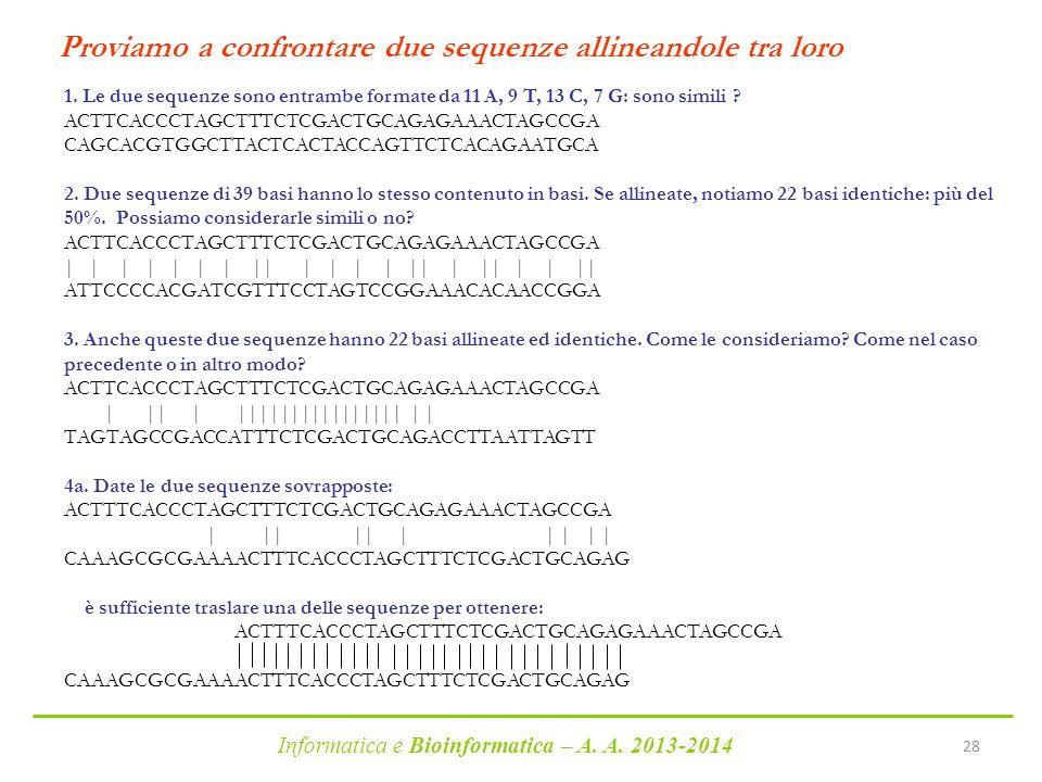 Informatica e Bioinformatica – A. A. 2013-2014 28 Proviamo a confrontare due sequenze allineandole tra loro 1. Le due sequenze sono entrambe formate d