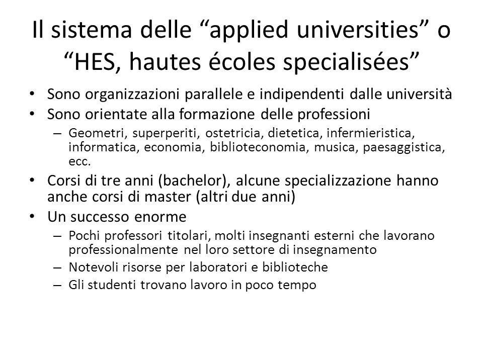 """Il sistema delle """"applied universities"""" o """"HES, hautes écoles specialisées"""" Sono organizzazioni parallele e indipendenti dalle università Sono orienta"""