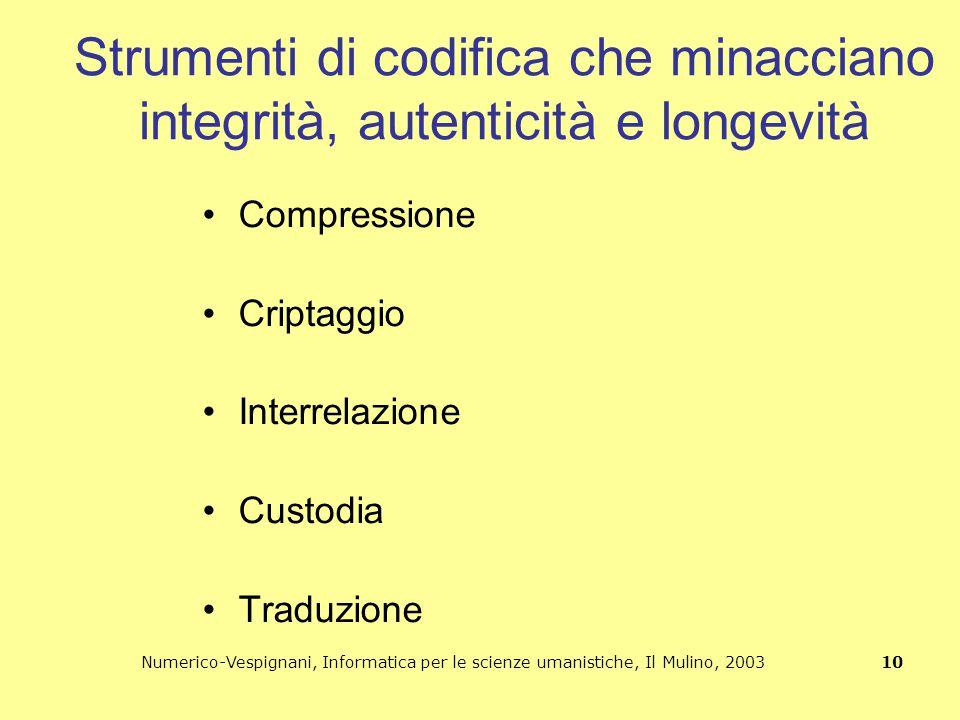 Numerico-Vespignani, Informatica per le scienze umanistiche, Il Mulino, 2003 10 Strumenti di codifica che minacciano integrità, autenticità e longevit
