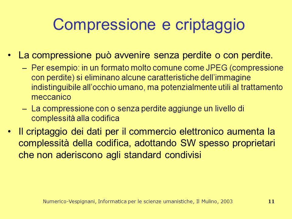 Numerico-Vespignani, Informatica per le scienze umanistiche, Il Mulino, 2003 11 Compressione e criptaggio La compressione può avvenire senza perdite o