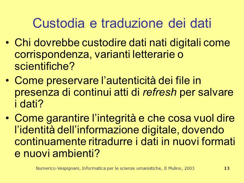 Numerico-Vespignani, Informatica per le scienze umanistiche, Il Mulino, 2003 13 Custodia e traduzione dei dati Chi dovrebbe custodire dati nati digita