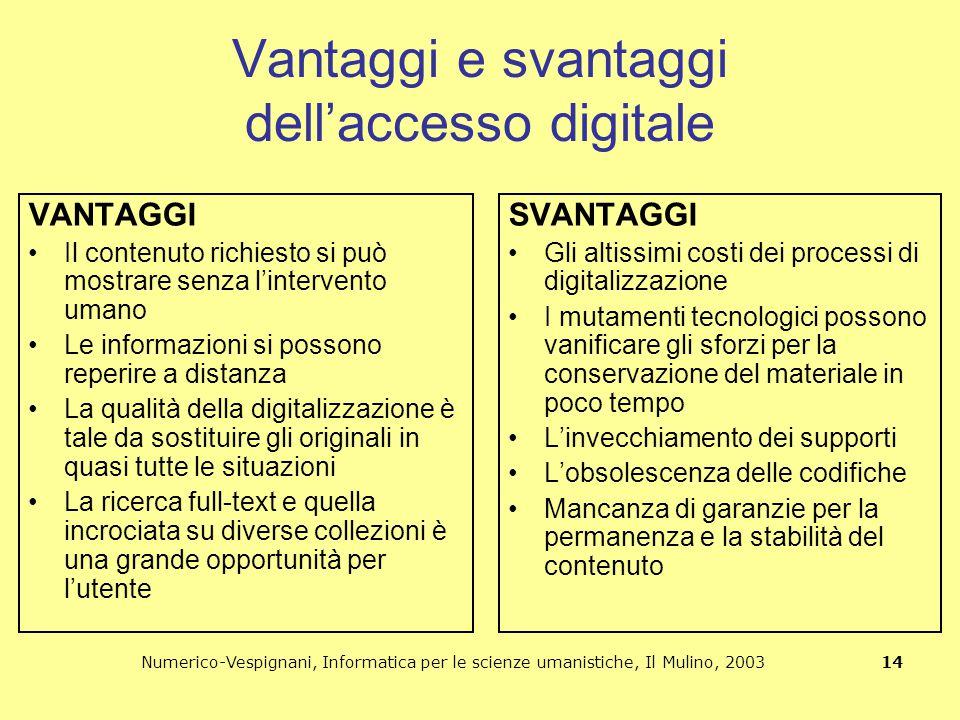 Numerico-Vespignani, Informatica per le scienze umanistiche, Il Mulino, 2003 14 Vantaggi e svantaggi dell'accesso digitale VANTAGGI Il contenuto richi