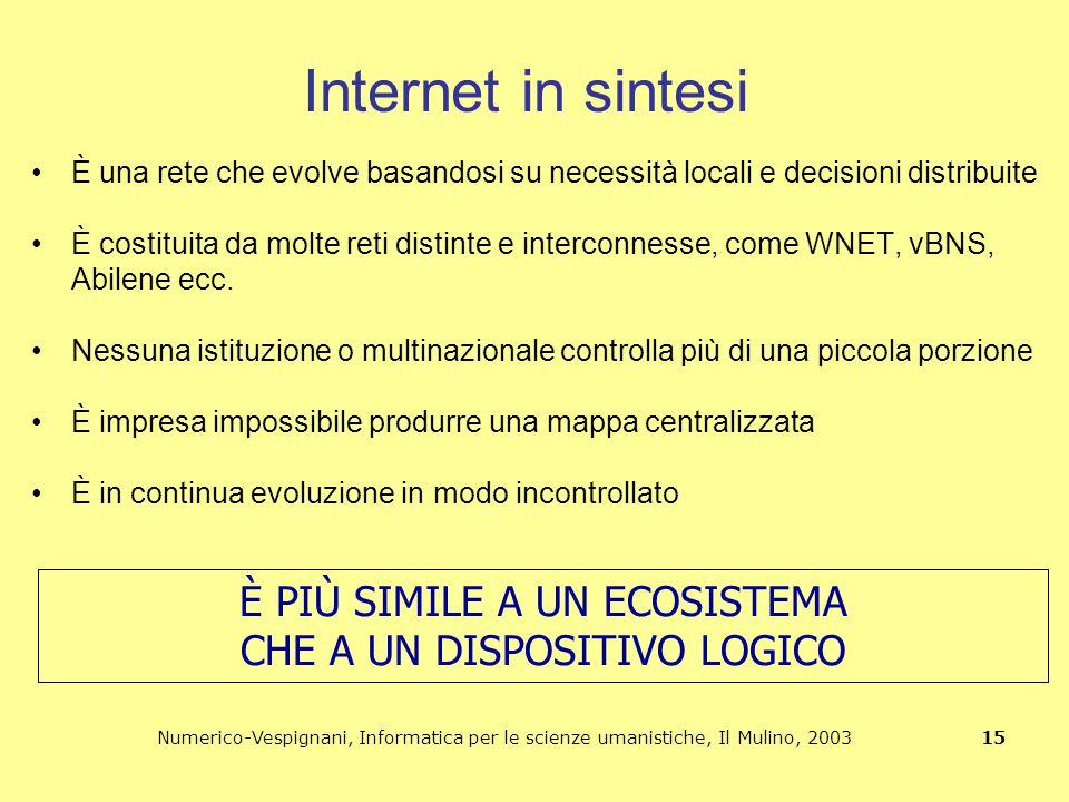 Numerico-Vespignani, Informatica per le scienze umanistiche, Il Mulino, 2003 15 Internet in sintesi È una rete che evolve basandosi su necessità local