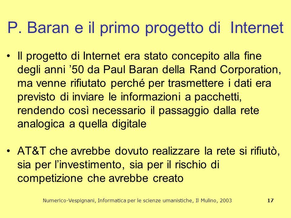 Numerico-Vespignani, Informatica per le scienze umanistiche, Il Mulino, 2003 17 P. Baran e il primo progetto di Internet Il progetto di Internet era s