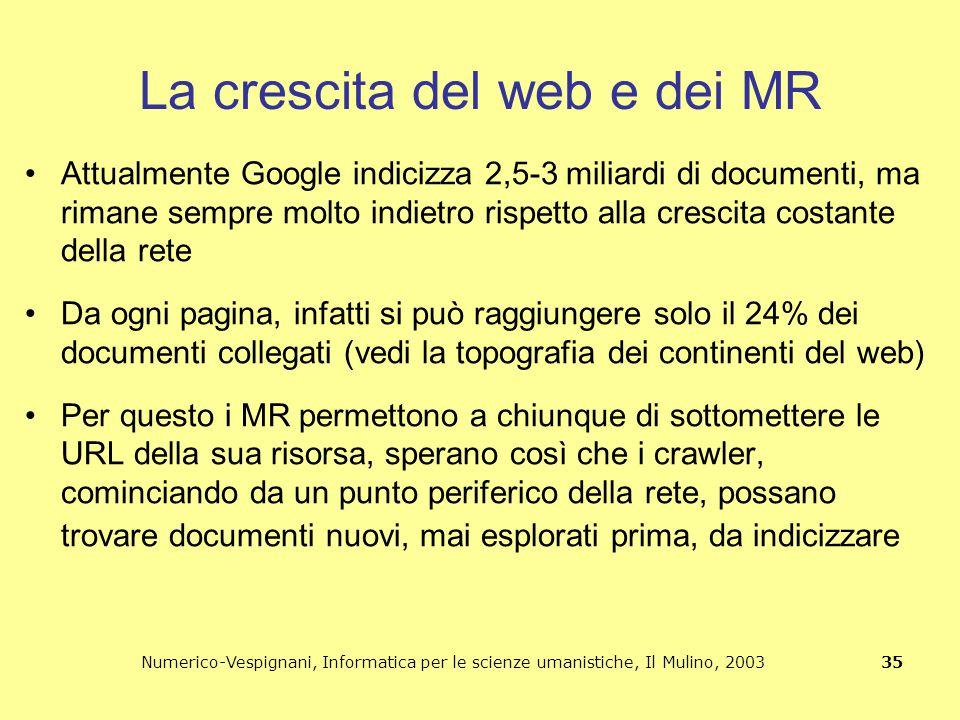 Numerico-Vespignani, Informatica per le scienze umanistiche, Il Mulino, 2003 35 La crescita del web e dei MR Attualmente Google indicizza 2,5-3 miliar