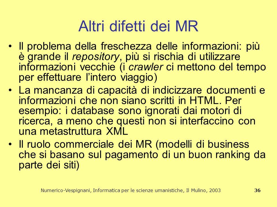 Numerico-Vespignani, Informatica per le scienze umanistiche, Il Mulino, 2003 36 Altri difetti dei MR Il problema della freschezza delle informazioni:
