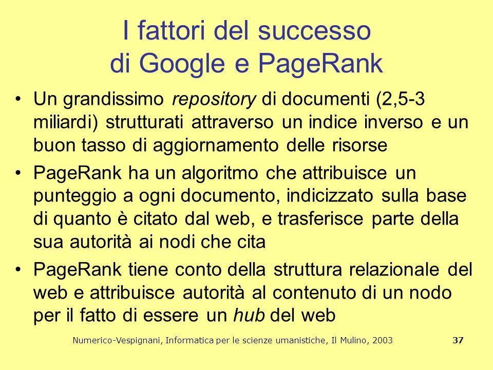 Numerico-Vespignani, Informatica per le scienze umanistiche, Il Mulino, 2003 37 I fattori del successo di Google e PageRank Un grandissimo repository