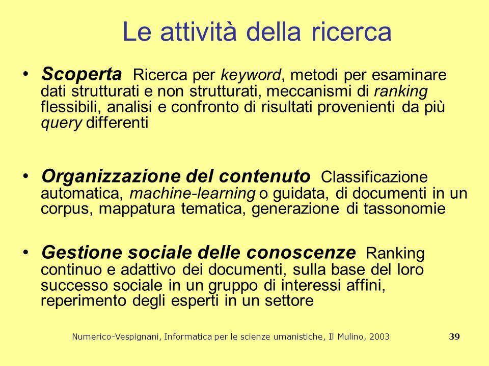 Numerico-Vespignani, Informatica per le scienze umanistiche, Il Mulino, 2003 39 Le attività della ricerca Scoperta Ricerca per keyword, metodi per esa