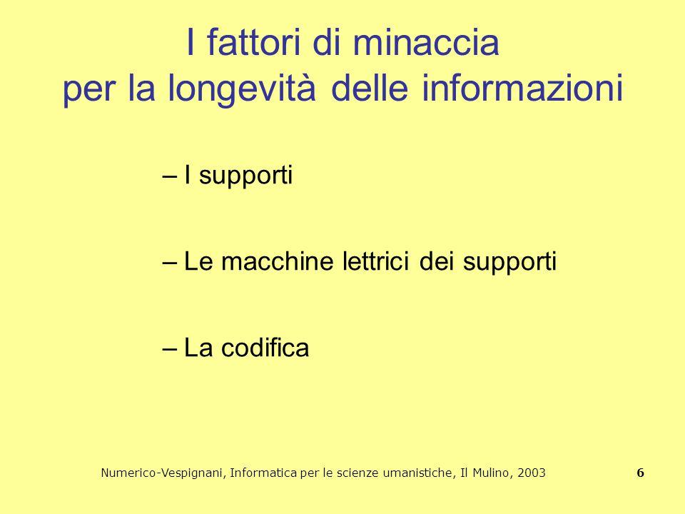 Numerico-Vespignani, Informatica per le scienze umanistiche, Il Mulino, 2003 6 I fattori di minaccia per la longevità delle informazioni –I supporti –