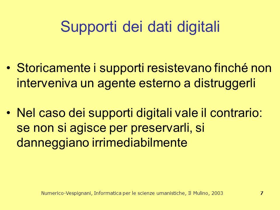 Numerico-Vespignani, Informatica per le scienze umanistiche, Il Mulino, 2003 7 Supporti dei dati digitali Storicamente i supporti resistevano finché n