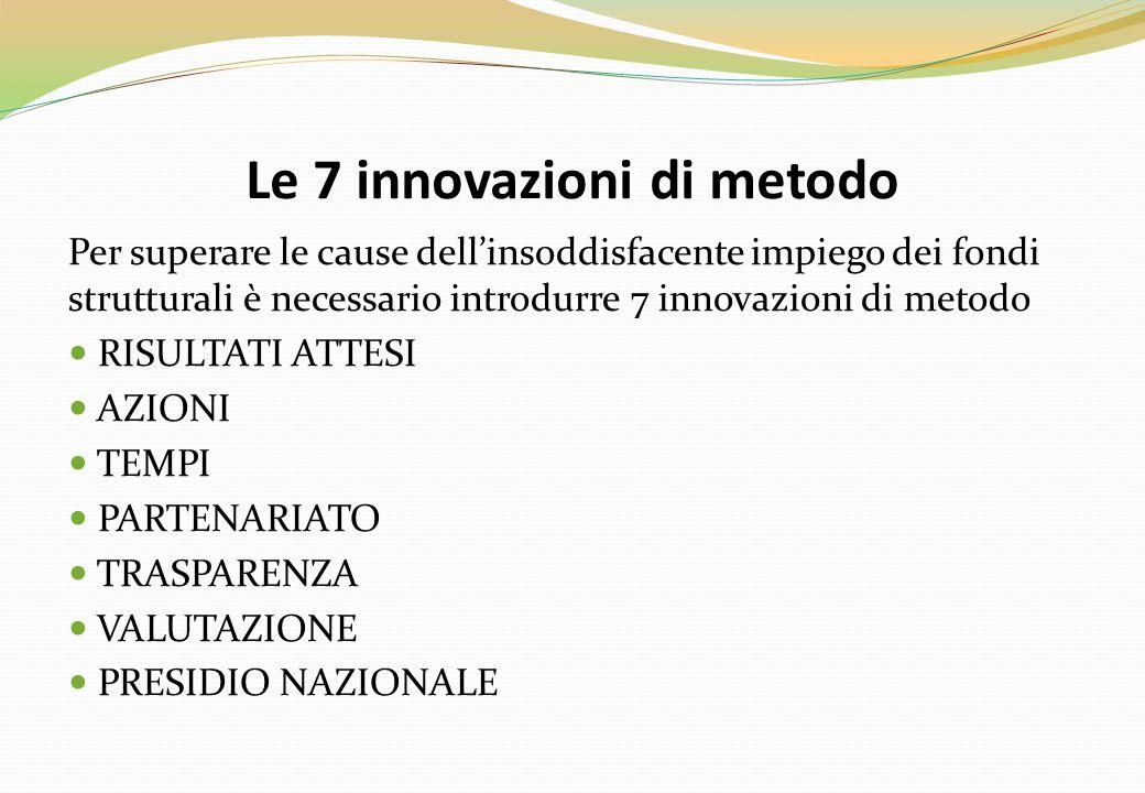 Le 7 innovazioni di metodo Per superare le cause dell'insoddisfacente impiego dei fondi strutturali è necessario introdurre 7 innovazioni di metodo RISULTATI ATTESI AZIONI TEMPI PARTENARIATO TRASPARENZA VALUTAZIONE PRESIDIO NAZIONALE