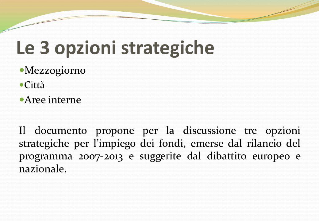Le 3 opzioni strategiche Mezzogiorno Città Aree interne Il documento propone per la discussione tre opzioni strategiche per l'impiego dei fondi, emerse dal rilancio del programma 2007-2013 e suggerite dal dibattito europeo e nazionale.