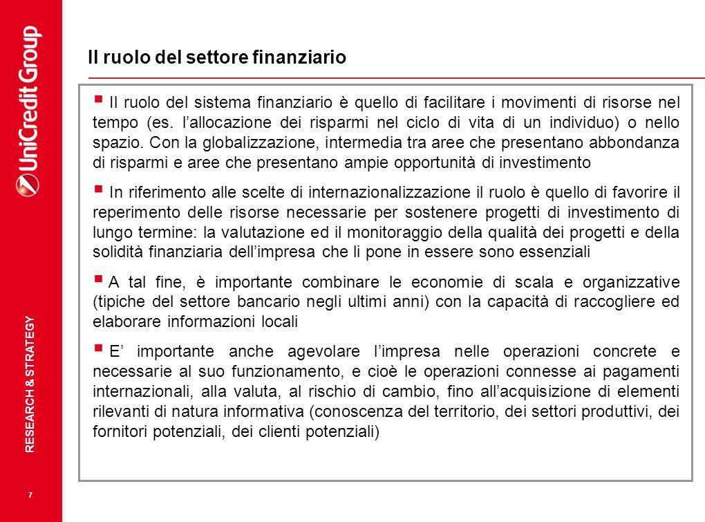 RESEARCH & STRATEGY 7 Il ruolo del settore finanziario  Il ruolo del sistema finanziario è quello di facilitare i movimenti di risorse nel tempo (es.