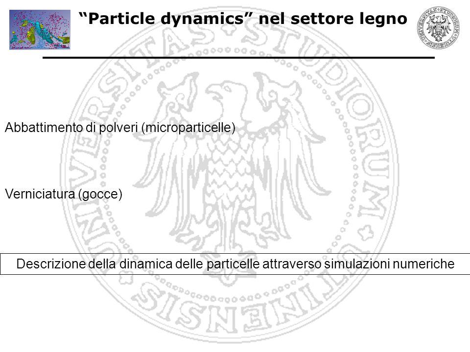 Particle Dynamics : abbattimento polveri Settore legno: studio della dinamica delle particelle per ottenere efficienti sistemi di abbattimento delle polveri Simulazione numerica diretta dell' abbattimento delle polveri attraverso separatore assiale (Re=5000; diametro particelle = 70 micron)