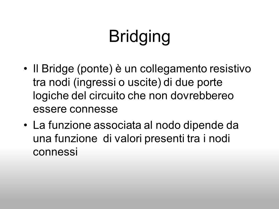 Bridging Il Bridge (ponte) è un collegamento resistivo tra nodi (ingressi o uscite) di due porte logiche del circuito che non dovrebbereo essere conne