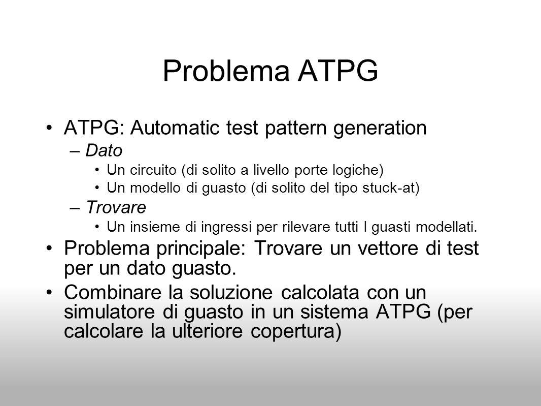 Problema ATPG ATPG: Automatic test pattern generation –Dato Un circuito (di solito a livello porte logiche) Un modello di guasto (di solito del tipo s